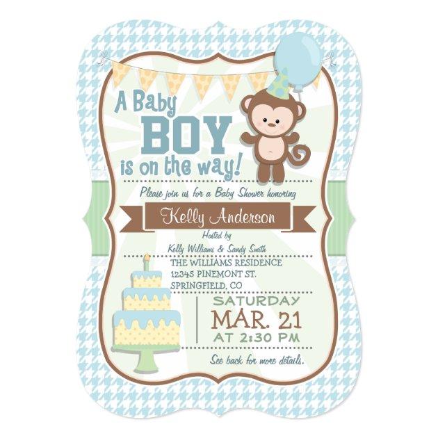 Baby Boy Monkey Pastel Shower Invite