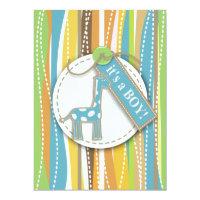 Baby Boy Shower Dots giraffe Invitation Card