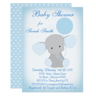 Baby Boy Shower Invitation Elephant Blue Gray