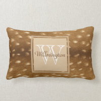 Baby Deer Fawn Fur Personalized Name Lumbar Pillow