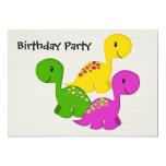 ❤️ Sweet, Simple Triplet Baby Dinosaurs Birthday Party Invitation