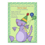 ❤️ Cute Purple Baby Dinosaur Birthday Party Invitation