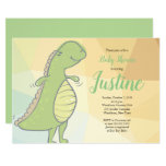 ❤️ Happy Mama Green Dinosaur Baby Shower Invitation