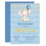 Baby Elephant Boy | First Birthday Invitation
