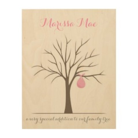 Baby Fingerprint Tree - Pink Wood Canvases