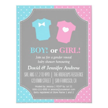 Baby Gender Reveal Party Polka Dots Invitation