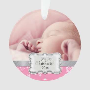 Baby Girl 1st Christmas with Snowflakes Ornament