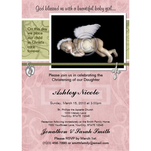 Baby Girl Baptism or Christening Invitation invitation