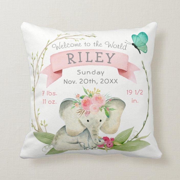 baby girl birth stats cute elephant throw pillow zazzle com