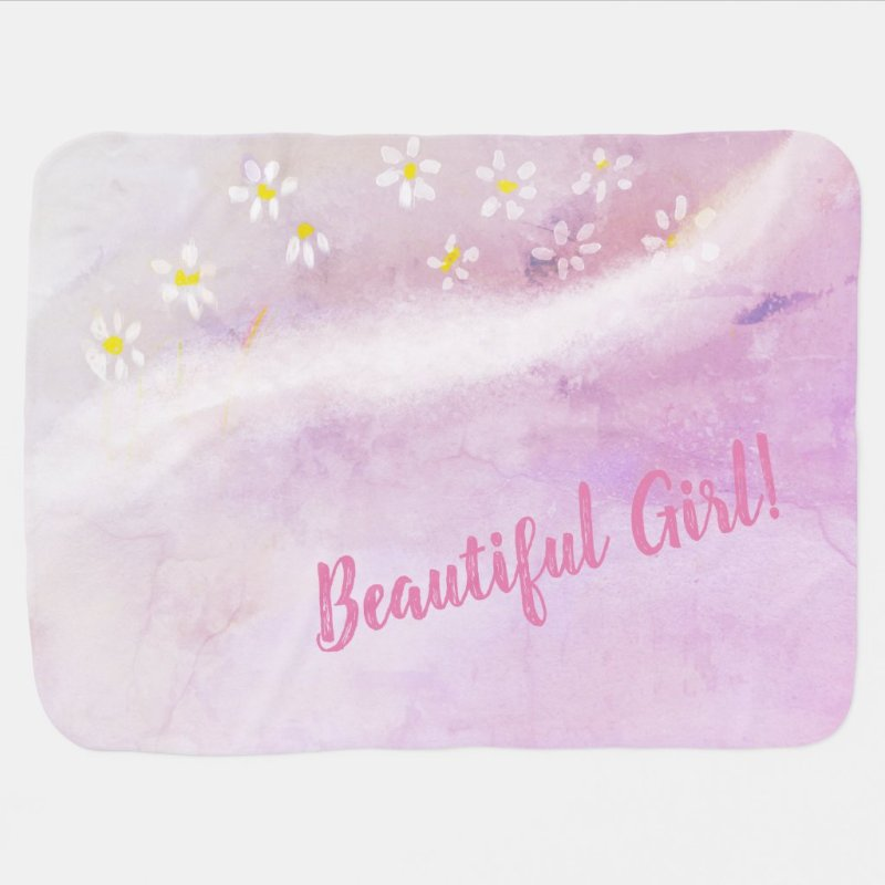 Baby Girl Soft Daisies Watercolor Baby Shower Baby Blanket
