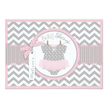 Baby Girl Tutu Chevron Print Baby Shower Invitation