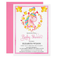 Baby Girl Watercolor Unicorn Baby Shower Card