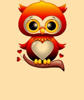 Baby Owl Love Heart Cartoon T-Shirt