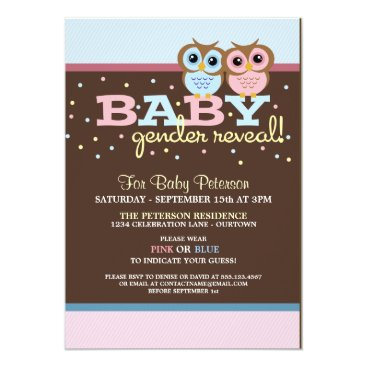 Baby Owls Gender Reveal Party Invitation