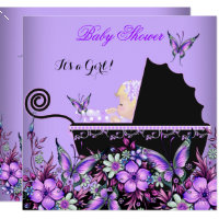 Baby Shower Baby Blonde Girl Purple Butterfly Card