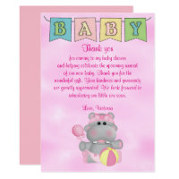 Baby Shower Baby Girl Hippo Card