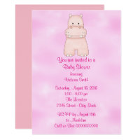 Baby Shower Baby Girl Pink Hippo Card