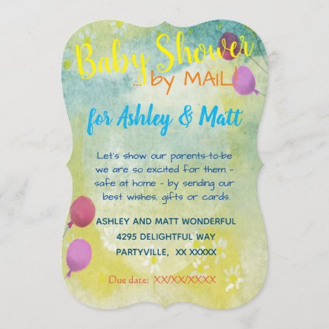 Baby Shower by Mail Daisies Balloons  Invitation