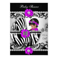 Baby Shower Cute Baby Girl Zebra Purple Pink Black 4.5x6.25 Paper Invitation Card