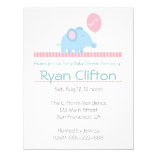 Baby Shower: Cute blue elephant with pink balloon Custom Announcements