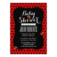 Baby Shower Cute Ladybugs Black & Red Dots Card