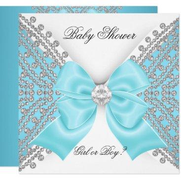 Baby Shower Gender Reveal Teal Blue White Card