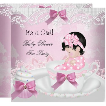 Baby Shower Girl Pink Baby Teacup Cupcake Invitation