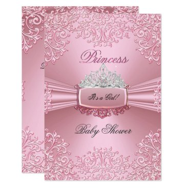 Baby Shower Girl Pink Princess Tiara lace SML Invitation