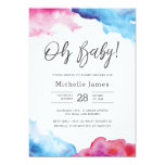 Baby Shower Invitation | Blue and pink watercolour