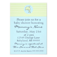 Baby Shower Invitation. Blue Dolphin. 5