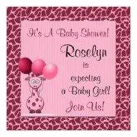 Baby Shower Invitation Pink Giraffe