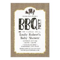 Baby Shower Pig Roast BBQ Rustic Burlap Card