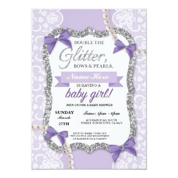 Baby Shower Purple Lace Glitter Bow Girl Invite