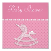 Baby Shower Rocking Horse Unicorn, Pearls & Hearts Card