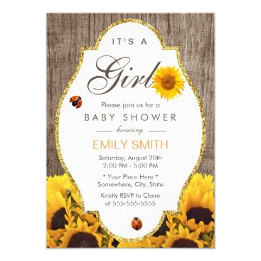 Baby Shower Rustic Sunflower Ladybug Country Girl Card