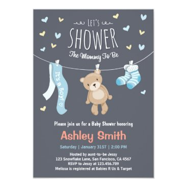 Baby Shower Teddy Bear Invitation Baby Boy