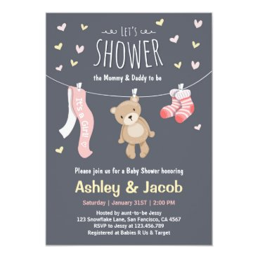 Baby Shower Teddy Bear Invitation Pink Girl shower