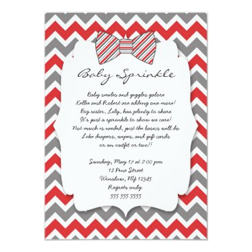 Baby Sprinkle red gray Bow tie baby shower Card