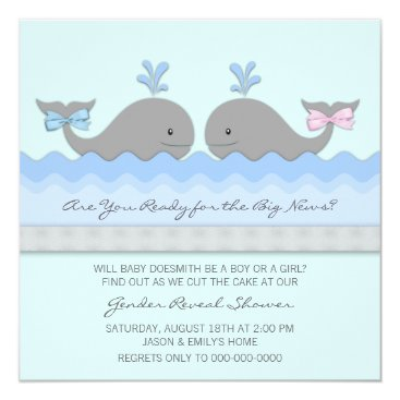 Baby Whale Gender Reveal Card