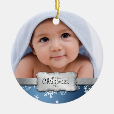 Baby's 1st Christmas.  Add your photo Ceramic Ornament