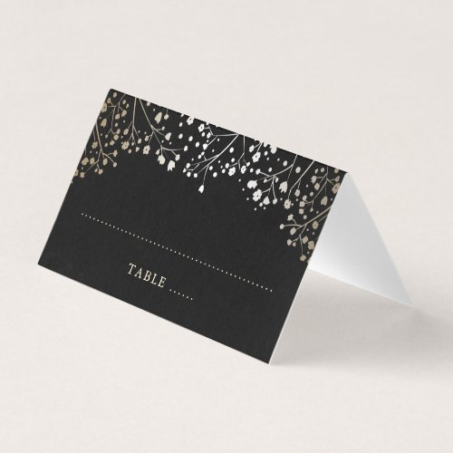 Baby&#39&#x3B;s Breath Black and Gold Wedding Place Card