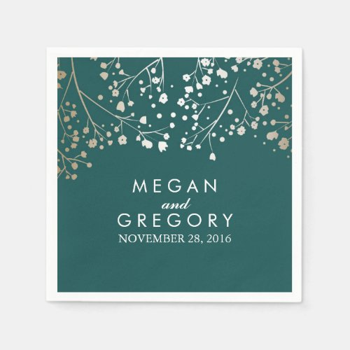 Baby&#39&#x3B;s Breath Gold and Teal Floral Wedding Paper Napkin