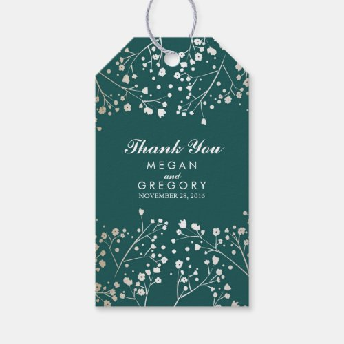 Baby&#39&#x3B;s Breath Gold Foil Teal Wedding Gift Tags