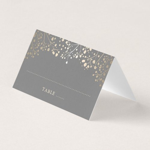 Baby&#39&#x3B;s Breath Grey and Gold Wedding Place Card