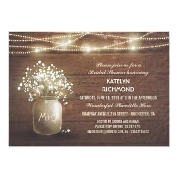Baby's Breath Mason Jar Lights Bridal Shower Card