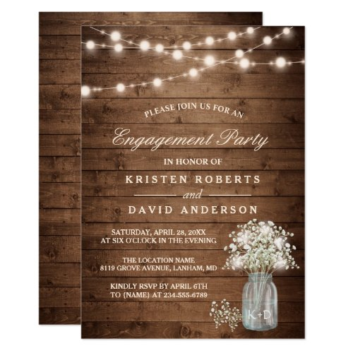 Baby&#39&#x3B;s Breath Mason Jar Rustic Engagement Party Invitation