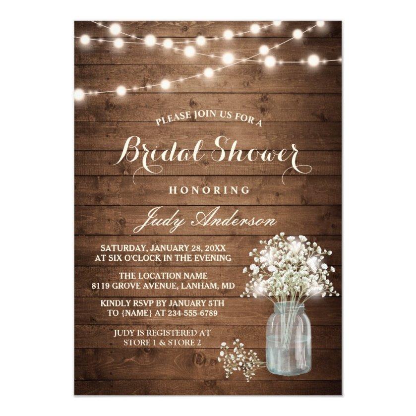 Baby's Breath Mason Jar Rustic Wood Bridal Shower Invitation