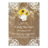 Baby's Breath Mason Jar Sunflowers Birthday Party Card