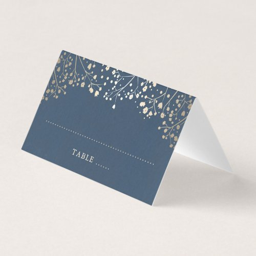Baby&#39&#x3B;s Breath Navy Blue and Gold Wedding Place Card