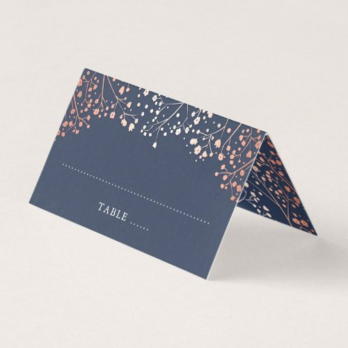 Baby&#39&#x3B;s Breath Navy Blue and Rose Gold Wedding Place Card